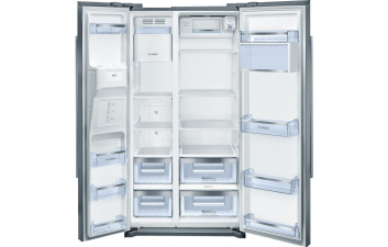 Bosch KAD90VI20G American-Style Fridge Freezer, Stainless Steel EasyClean Door & Grey Side Panels