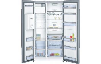 Bosch KAD92AI20G American-Style Fridge Freezer, Stainless Steel EasyClean Door & Chrome Inox Metallic Side Panels