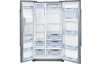Bosch KAG90AI20G American-Style Fridge Freezer, Stainless Steel EasyClean Door & Grey Side Panels