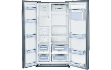Bosch KAN90VI20G American-Style Fridge Freezer, Stainless Steel EasyClean Door & Grey Side Panels