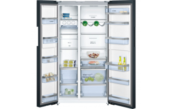 Bosch KAN92LB35G American-Style Fridge Freezer, Glass Black Door & Chrome Inox Metallic Side Panels