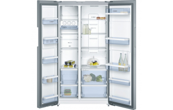 Bosch KAN92VI35 American-Style Fridge Freezer, Stainless Steel EasyClean door & Chrome Inox Metallic Side Panels