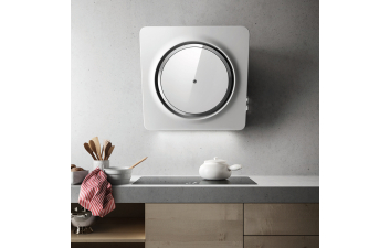 Elica Loop 75cm White Glass Angled Extractor