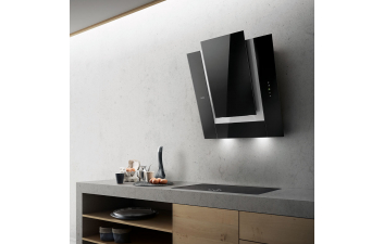 Elica Verdi 80cm Black Glass Angled Extractor