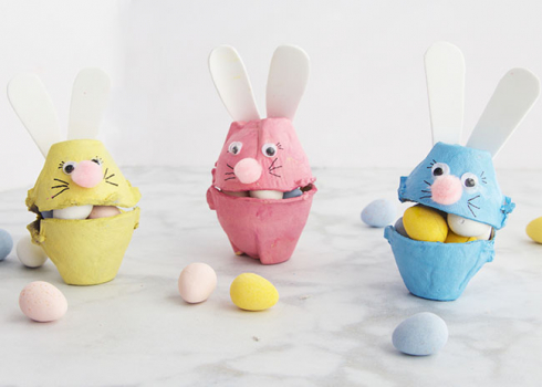Easy Egg Carton Bunny Craft for the Children to Make at Home